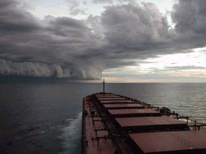 Ship looking towards hurricane